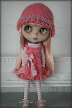Dress Shirt Hat Socks Rose Pink and Baby Pink for by Shazdolls