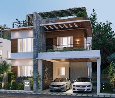 Home Architecture Exterior Indian 48 Ideas House Front Design, Modern House Design, Indian House Plans, Duplex House Plans, Modern Architects, Indian Homes, House Elevation, Dream Home Design, Facade House