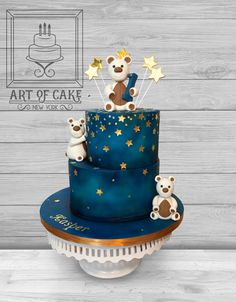 1st Birthday Cake with airbrushed night / galaxy and edible gold leaf stars and details, hand made teddy bears