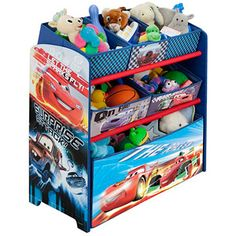 "Disney - Cars Multi-Bin Toy Organizer Five fabric storage bins Bottom tier is a toy box for storage Toy box dimensions: 24""L x 12""W x 9.25""H Small bin dimensions: 8.25""L x 10""W x 4.75""H Medium bin dimensions: 12""L x 10.5""W x 4.75""H Overall dimensions: 25""L x 16.5""W x 30.5""H Assembly required"