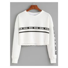 White Letter Print Crop Sweatshirt (19 AUD) ❤ liked on Polyvore featuring tops, hoodies, sweatshirts, white sweatshirt, cropped sweatshirt, cropped tops, cut-out crop tops and white tops