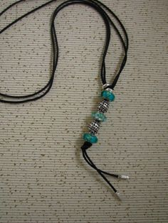 Charms Pandora, Pandora Necklace, Pandora Jewelry, Leather Necklace, Leather Jewelry, Beaded Necklace, Bracelet Designs, Necklace Designs, Turquoise Necklace