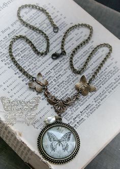 LACE WINGS Victorian lace butterfly necklace by TheVictorianGarden, $27.00