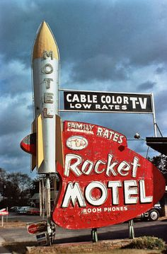 Corporatization of Roadside America Rocket Motel Neon sign