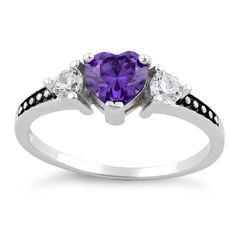 Sterling Silver Heart Amethyst CZ Ring