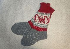 NEW Wool hand-made socks with cat pattern Cat Pattern, Knitting Socks, Leg Warmers, Christmas Stockings, Red And White, Legs, Wool, Gifts, Handmade