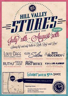 In a run-up to Secret Cinema's production of 'Back to the Future' - Hill Valley Stores are being recreated in Hackney, in a series of pop-up shops. Expect vintage costumes, classic tunes, and an American diner | 11th July-31st August | http://www.eventmagazine.co.uk/Destinations/article/1303186/pictures-Secret-Cinema-launches-Hill-Valley-pop-up-stores/