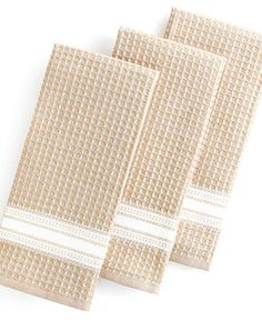 Martha Stewart Collection Kitchen Towels, Set of 3 Waffle Weave Taupe - Kitchen Gadgets - Kitchen - Macy's