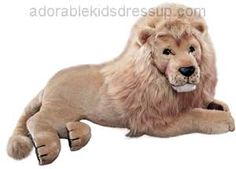 "This large stuffed lion has amazing detail and feel. This beautiful giant stuffed lion has an overall length of 48""."