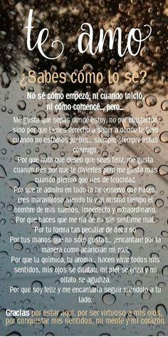 Te amo - Hard Tutorial and Ideas Spanish Quotes Love, Love In Spanish, Spanish Inspirational Quotes, Love Quotes For Boyfriend, Love Quotes For Him, Husband Quotes, Sad Love, Love You, Love Qutoes