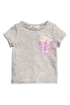 Göğüs Cepli Tişört - Açık gri/Popcorn - Kids | H&M TR