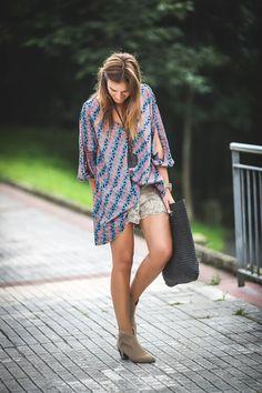Vestido geometrico , botines , ash , short encaje ,lucia diez ,Es cuestion de estilo