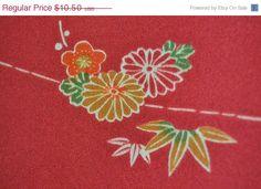 ON SALE Japanese maroon kimono fabric panel by KIMONOCARDS on Etsy