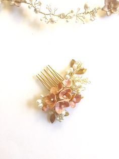 Blush pink Bridal hair comb headpiece pearl hair comb by amuandpri