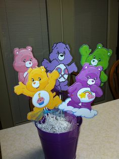 Care Bears Centerpiece sticks by MindysPaperPiecing on Etsy First Birthday Themes, Baby Girl First Birthday, First Birthday Photos, 4th Birthday Parties, 2nd Birthday, First Birthdays, Birthday Ideas, Care Bear Birthday, Care Bear Party