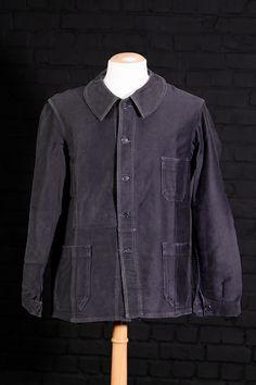 1930's Le Favori french black moleskin chore jackets
