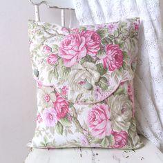 cuscino con fodera di cotone stampato rosa tema shabby cottage