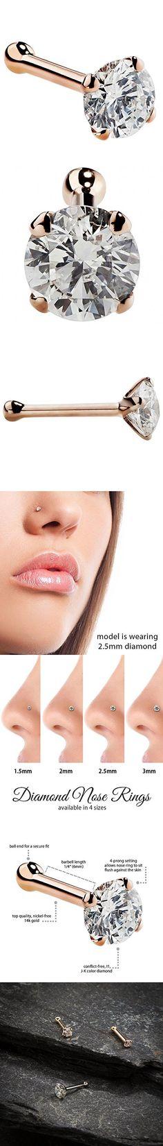 Heart Nose Surgical Steel Stud Bone or L Bend 20G .81mm Titanium Gold IP