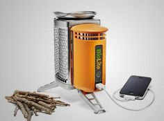 Use wood to cook your food and charge your devices while camping..