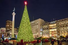 See pictures from San Francisco's Union Square at Christmas, including store windows, ice skating, and lighted trees.
