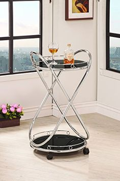 Coaster Home Furnishings 910074 Serving Cart, Chrome