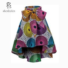 Shenbolen Women African Traditional Costume Flower Print Casual Dashiki Skirt (XX-Large,F) - Ankara Dresses, Shirts & African Print Skirt, African Print Dresses, African Dresses For Women, African Print Fashion, African Attire, African Fabric, Modern African Fashion, African Wear, African Print Clothing
