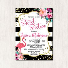 Flamingo Sweet sixteen birthday invitation, Let's flamingle Birtday Party Invitation, Flamingo Birthday, DIGITAL FILE ONLY - 1735 Baby Sprinkle Invitations, Bachelorette Party Invitations, Printable Invitations, Bridal Shower Invitations, Birthday Invitations, Invitation Cards, Flamingo Birthday, Flamingo Party, Sixteenth Birthday