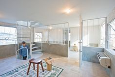 Extraordinary Contemporary Home Design in Japan: Fabulous Bedroom Design With Reading Nook At K House Decorated With Small Woodem Stool And . Osaka, Blog Design Inspiration, Reading Nook, Architecture Design, House Design, Contemporary, Interior Design, Furniture, Home Decor