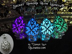 Here are the Secret Garden Glow Lockets® in my Etsy shop! These are sooo beautiful, delicate and glow in the dark so awesome. Just wear in sunlight! will recharge for ten years, all non toxic. These are really amazing and I just got some more in!