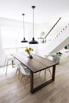 Scandinavian Inspired Dining Room   Mörbylånga Table, Eames Chairs, Black  Warehouse Pendant Lamps