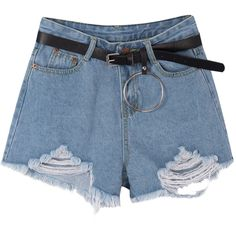 Frayed Hem Denim Shorts With Ring-Detailed Belt Set ($27) ❤ liked on Polyvore featuring shorts, bottoms, ripped jean shorts, cut-off jean shorts, distressed denim shorts, high rise denim shorts and jean shorts