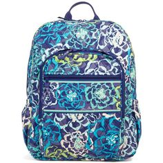 Vera Bradley Campus Backpack in Katalina Blues ($109) ❤ liked on Polyvore featuring bags, backpacks, backpack, katalina blues, vera bradley, strap bag, blue backpack, vera bradley backpack and zipper bag