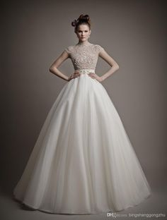 Discount 2015 Gorgeous Ball Gown Wedding Dress High Neck Cap Sleeves Open Back Tulle Satin Long Bridal Dress Court Train Sheer Wedding Gowns 2014 Online with $132.37/Piece | DHgate