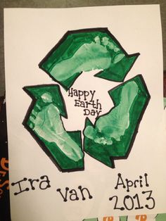 Earth day baby footprint art!