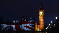 Union Jack decorates Houses of Parliament and Big Ben  The Union Jack is projected on to the Houses of Parliament and Big Ben during a light show to mark the start of the London 2012 Olympic Games on 27 July2012.