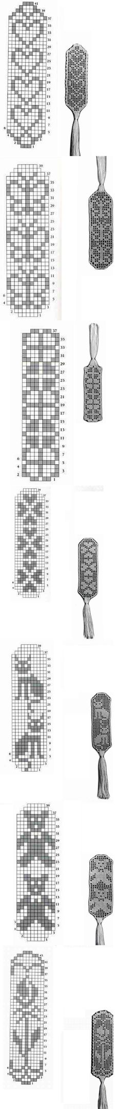 Seven filet crochet bookmarks - charts Crochet Bookmark Pattern, Crochet Bookmarks, Crochet Cross, Thread Crochet, Crochet Motif, Crochet Doilies, Crochet Flowers, Crochet Gifts, Filet Crochet Charts
