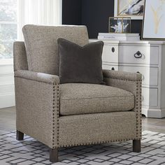 This chair features a standard blend down seat cushion and back pillow. The back and seat cushions are loose box border with elongated top stitching. Cool Office Desk, Accent Chairs For Living Room, Chair Fabric, Upholstered Chairs, Seat Cushions, Living Spaces, Modern, Furniture, Carriage House
