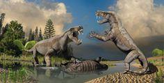 Gorgonopsids fighting, digital artwork by Julius Csotonyi.