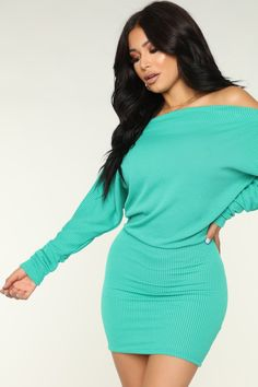 Available In Green, Black, Wine, Khaki And Mustard Dolman Polyester Rayon SpandexMade in USA Work Dresses For Women, Nice Dresses, Clothes For Women, Mint Green Outfits, Christmas Sweater Dress, Miami Fashion, Women's Fashion, Dope Outfits, Dress Outfits