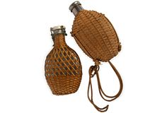 One Kings Lane - Tricia Foley - Small Wicker Flasks, Set of 2