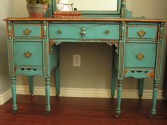 This is the desk I just bought at a yard sale! Now I need to refinish mine with paint like this one!