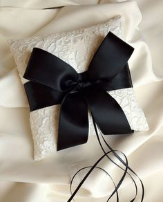 Ivory and Black Ring Bearer Pillow - Alencon Lace Ring Bearer Pillow