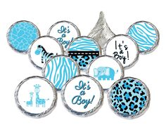 Celebrate It's a Boy with Blue Sweet Safari Jungle Boy Baby Shower Stickers Made to Fit Perfectly on Hershey Kisses.