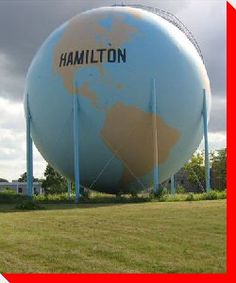 Across Canada, there are hundreds of interesting roadside attractions. This site is dedicated to cataloging our nation's large roadside attractions. Hamilton Ontario Canada, Canada Eh, Hamilton Beach, World Globes, Roadside Attractions, Water Tower, Alberta Canada, Canada Travel, Tourism