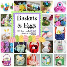 Adorable Baskets and Eggs! 20+ Free Crochet Patterns | CrochetStreet.com