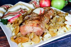 Make this blue ribbon winning pork loin for dinner tonight. This easy and delicious meal features a combination of sweet apples and onion flavors your family will love. Pork Loin Apple Recipe, Pork Tenderloin Recipes, Pork Chops, Easy Dinner Recipes Pork, Sunday Recipes, Bbq Pork Sandwiches, Asian Pork, Pork Dishes, Cooking Recipes