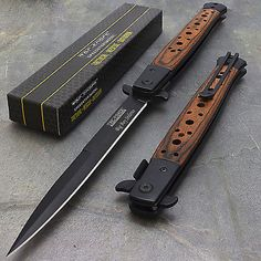"12.5"" STILETTO WOOD TAC FORCE SPRING ASSISTED FOLDING KNIFE Blade Pocket Open"