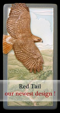 Red Tail, red tailed hawk, ceramic tile, wall decor, 4 x 8 inches, tile by MedicineBluffStudio on Etsy