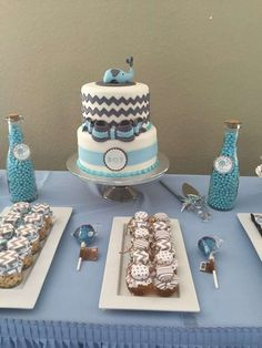Blue and gray elephant baby shower  party! See more party planning ideas at CatchMyParty.com!