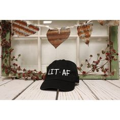 Vintage LIT AF Baseball Cap Low Profile Dad Hats Baseball Hat... ($18) ❤ liked on Polyvore featuring accessories, hats, baseball caps, cotton baseball hats, vintage hats, vintage baseball caps and ball cap hats